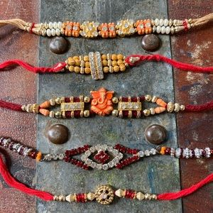 Jewelry - Set of 5 handmade tie bracelets from India